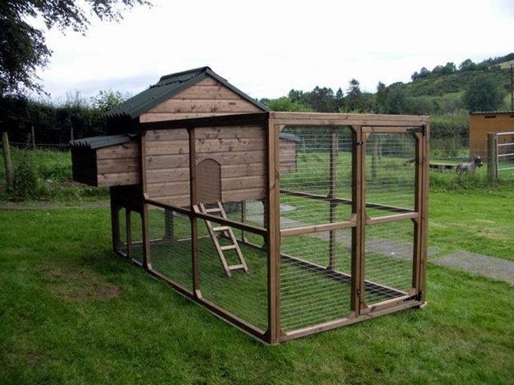 Pollaio in legno e rete